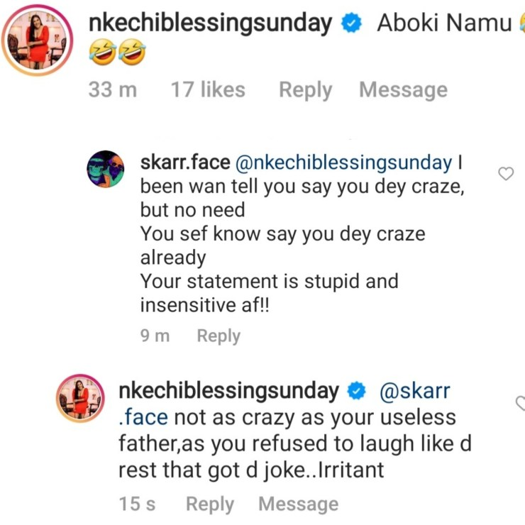 Actress, Nkechi Blessing hits back at follower who slammed her for her comment about BBNaija's Yousef's accent