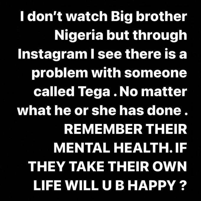 No matter what Tega has done, remember her mental health — OAP ShopsyDoo