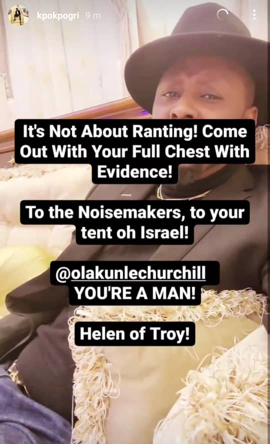 """Churchill, you're a man!"" — Prince Kpokpogri hails Tonto Dikeh's ex-husband amidst breakup; calls her ""Helen of Troy"""