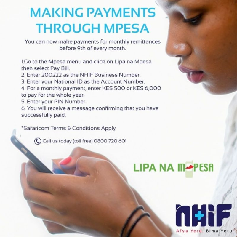 NHIF ( National Hospital Insurance Fund ) offers health insurance service to Kenyans who have attained the legal age of 18 years and even those below as beneficiaries.