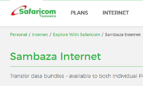 One is able to sambaza internet data bundles by the below methods