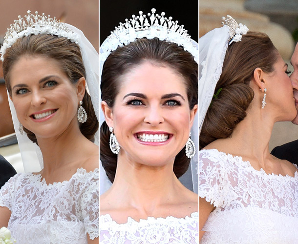 madeleine wore her hair swept back from her face in a simple chignon the low bun was held in place by her royal tiara which was decorated with a delicate