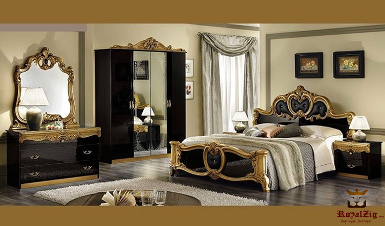 classical egyptian style black gold bedroom set