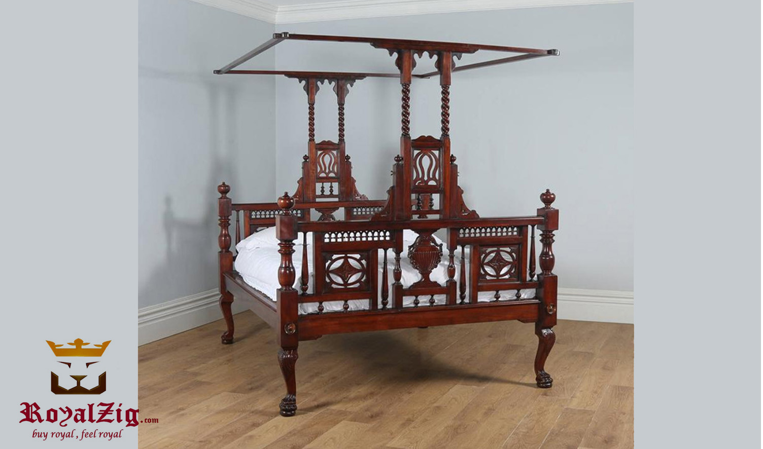 luxury classic style anglo indian four poster bed