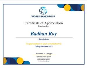 Certificate of Appreciation Doing Business 2021