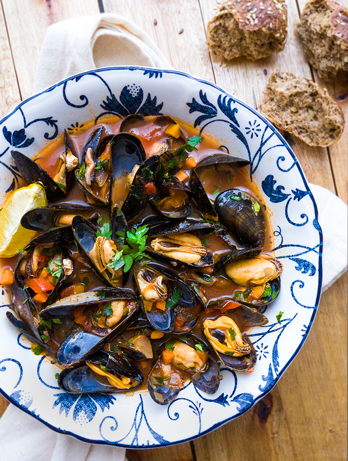 Mussels & Fish in a Spicy Tomato Stew