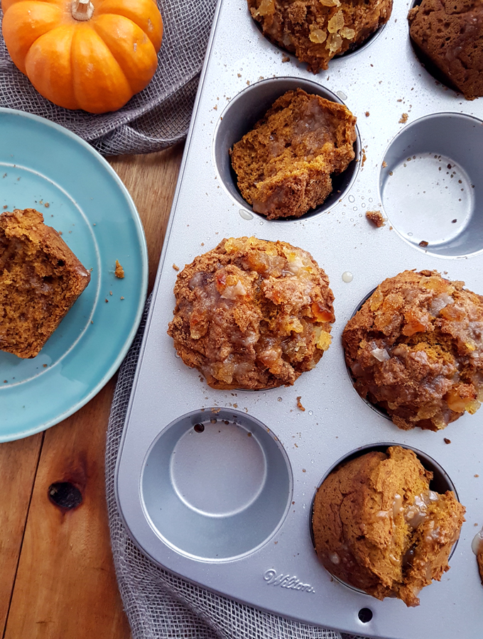 Spiced Pumpkin Muffins with Stem Ginger Crumble