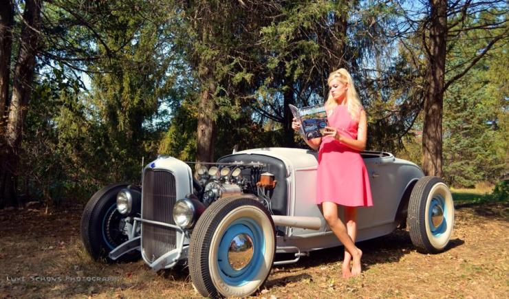 Stacie and her roadster. Image by Luke Schons