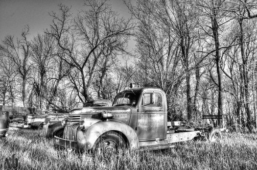 Fire Truck in Black & White