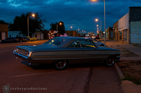 1964 Galaxie outside of Johnny Torres Upholstery for the Open House