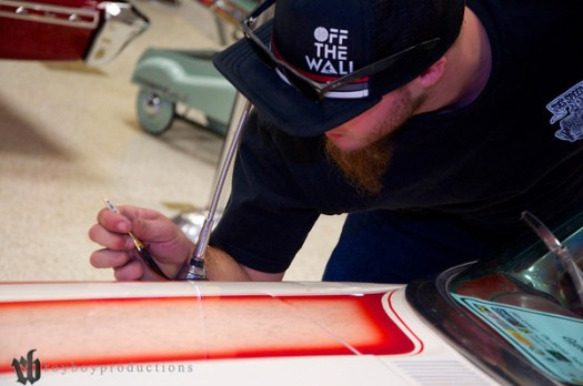 Clint Rowe striping the new Jeff Myers paint job on my Galaxie 500