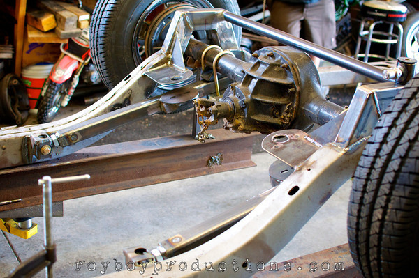 The rear bag mounts and arms are mocked up and the C Notch is welded in.