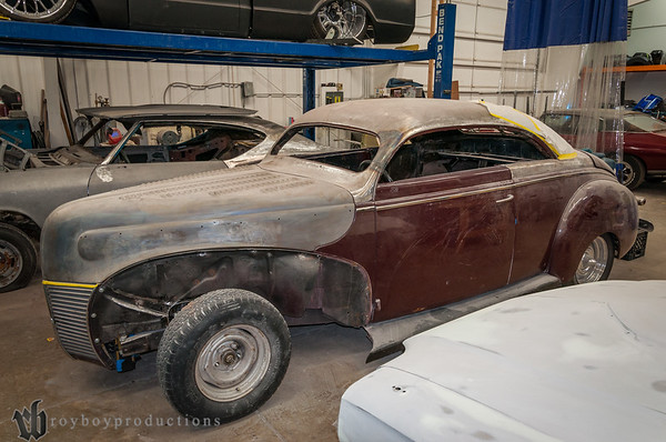 This is the 39 Merc that was chopped at the 2014 KKOA, here to get finished up. The plans are to have the car in bare metal for the 2015 KKOA.