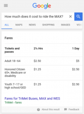 mobile featured snippet