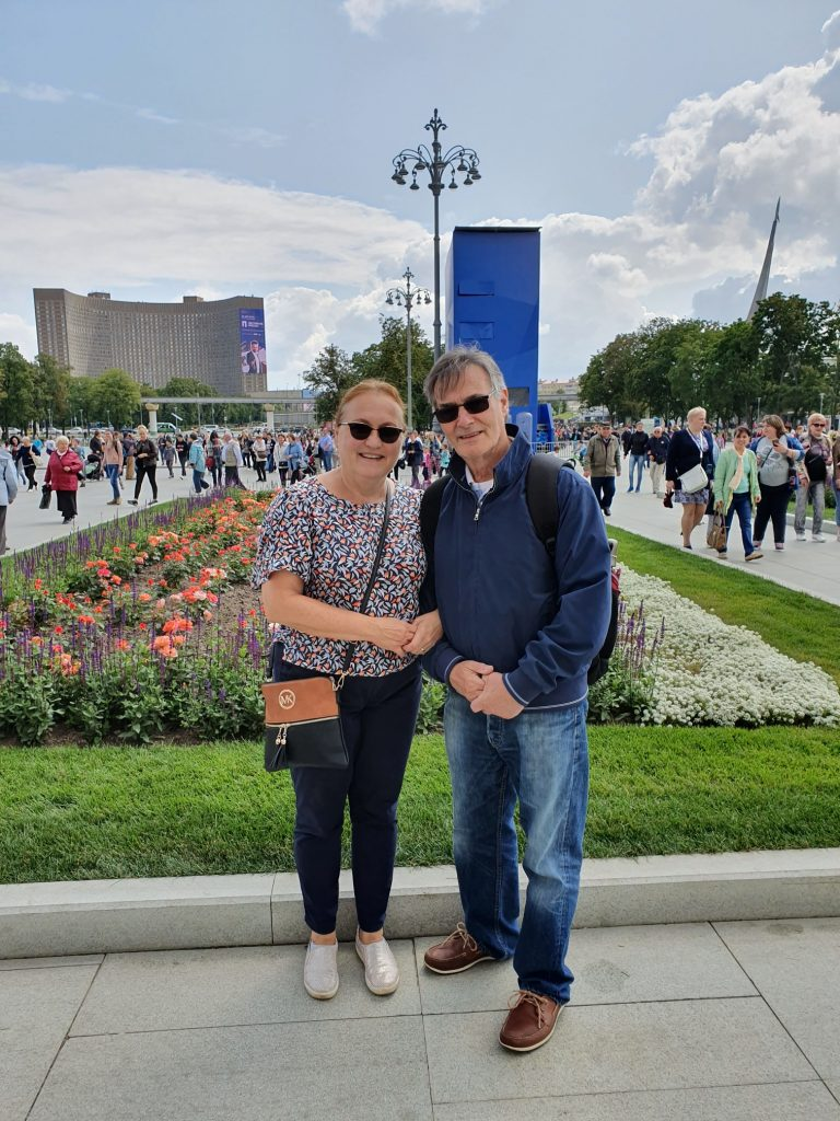 roy and yelena munday, near cosmos hotel, moscow, russia 2019.artist and art teacher, art classes, merseyside.