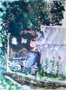 watercolour sketch, done in the russian countryside by artist roy munday, runs art classes on merseyside and lancashire