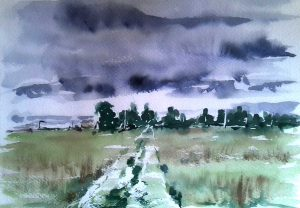quick watercolour sketch, done in russia, countryside. by artist roy munday, teacher of beginners watercolour classes, liverpool, merseyside, southport