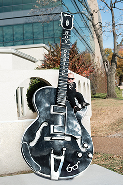 Roy Orbison's grandson, Roy Orbison 3rd, on giant Roy Orbison guitar! Music Row in Nashville, Tennessee