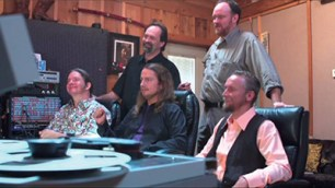 "The Orbison Brothers working on the Roy Orbison song ""The Way Is Love"" with John Carter Cash in the Johnny Cash Cabin Studio in Hendersonville, TN"