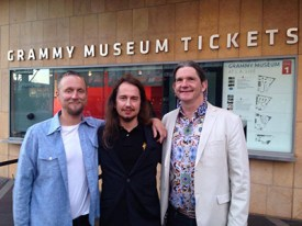 "At the Grammy Museum in Los Angeles, California. At the premier of the film documentary ""Mystery Girl Unraveled"". Roy Orbison Jr with his brothers Alex (left) and Wesley (right)"