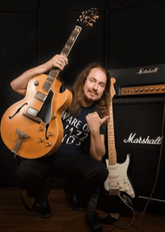 Roy Orbison Jr with his guitars and Marshall