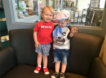 Roy Orbison 3 and Ryman Frizzell! Ryman (on the right in the hat) is the amazingly cute son of Corey Frizzell and Toni Frizzell. He is grandnephew of country music giant Lefty Frizzell. They are friends and both very talented musically for their age - 2 years!