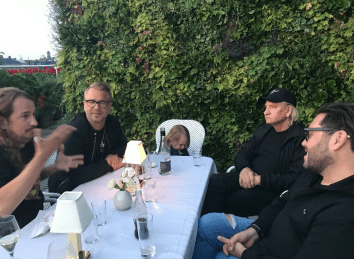Dinner in Stockholm Sweden with my family & Joe Walsh of The Eagles and Ulf Ekberg of Ace of Base!‬
