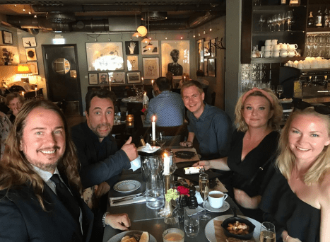Another great dinner with Asa and Swedish comedian Per Andersson & Malin Andersson and Swedish politician Gustav Fridolin 