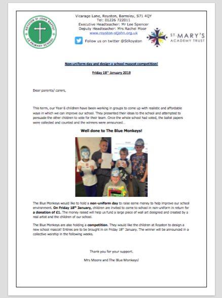 Non-uniform day and design a school mascot competition!