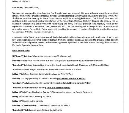 Newsletter Friday 2nd July 2021 & Dates for your Diary