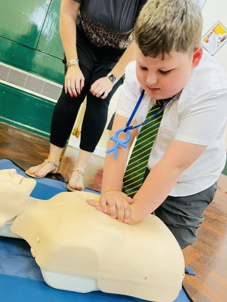 We have been learning basic First Aid and basic CPR.