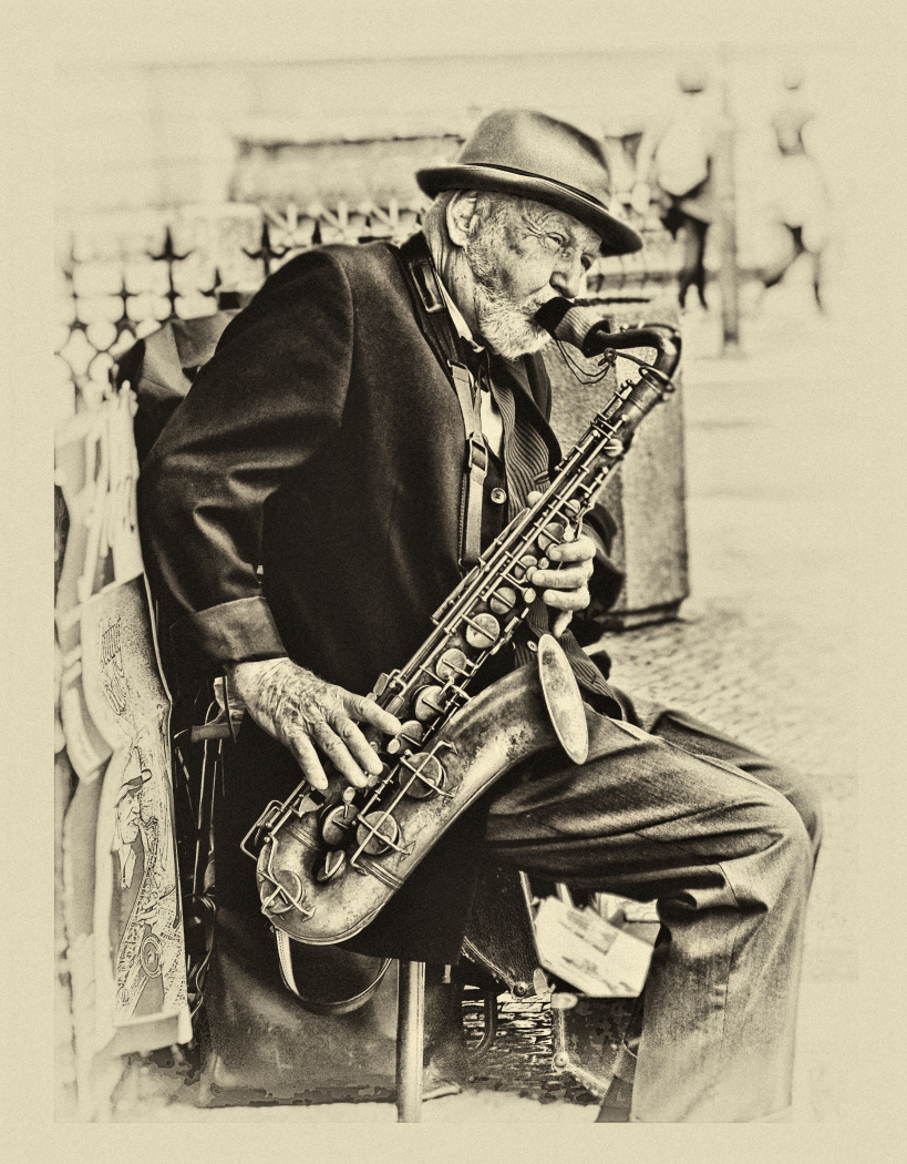 Saxophone Player in OldTown Square