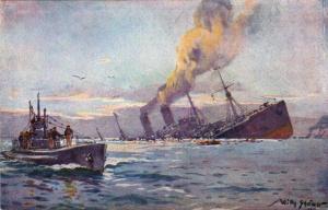 Statek transportowy zatopiony przez u-boota na obrazie Williego Stöwera