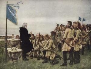 Komunia w szwedzkim obozie po bitwie pod Fraustadt (obraz Gustafa Cederströma)