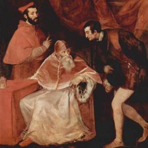 Papież Paweł III ze swoimi dwoma wnukami - kardynałem Aleksandrem i księciem Oktawianem na obrazie Tycjana