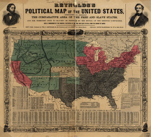 Mapa polityczna Stanów przed wybuchem wojny secesyjnej