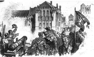 Polska artyleria ostrzeliwuje zamek malborski w czasie oblężenia w 1410 roku