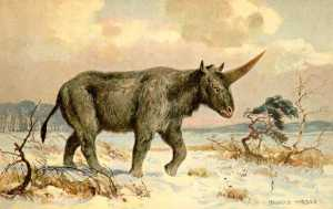 """Elasmotherium"" – obraz Heinricha Hardera z 1920 roku."