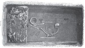 Ilustracja przedstawiająca grobowiec i jego zawartość pochodząca z XIX wieku