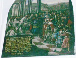 Król Jan III Sobieski z wizytą na Jasnej Górze przed wyruszeniem pod Wiedeń, obraz z Sali Rycerskiej Klasztoru Jasnogórskiego