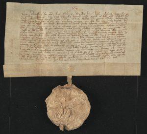 Dokument Władysława Łokietka z przywieszoną pieczęcią władcy. Król nie miał nic przeciwko temu, by tłok swojej głównej pieczęci oddawać w ręce małżonki.