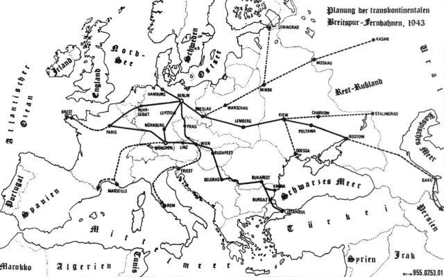 Mapa trasy proponowane w 1943 r.
