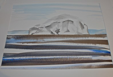 Watercolour painting of Bass Rock from the other side of the Forth by R Crawford