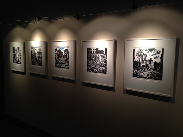 Linocut Prints by Helmuth Weissenborn showing scenes of London during The Blitz of WWII