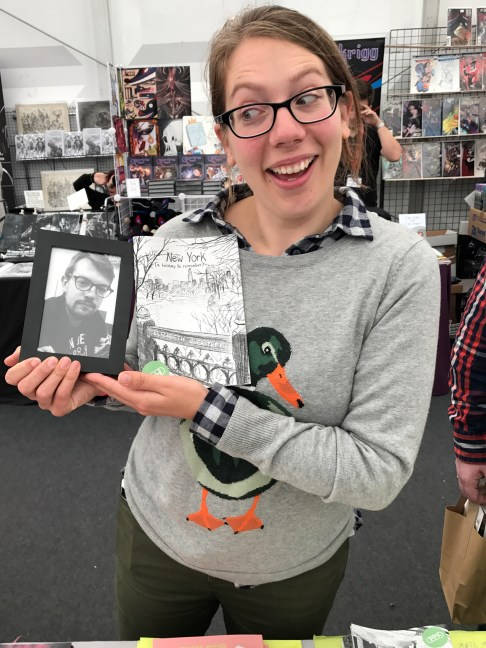 Elizabeth Querstret with New York Zine... and Paddy