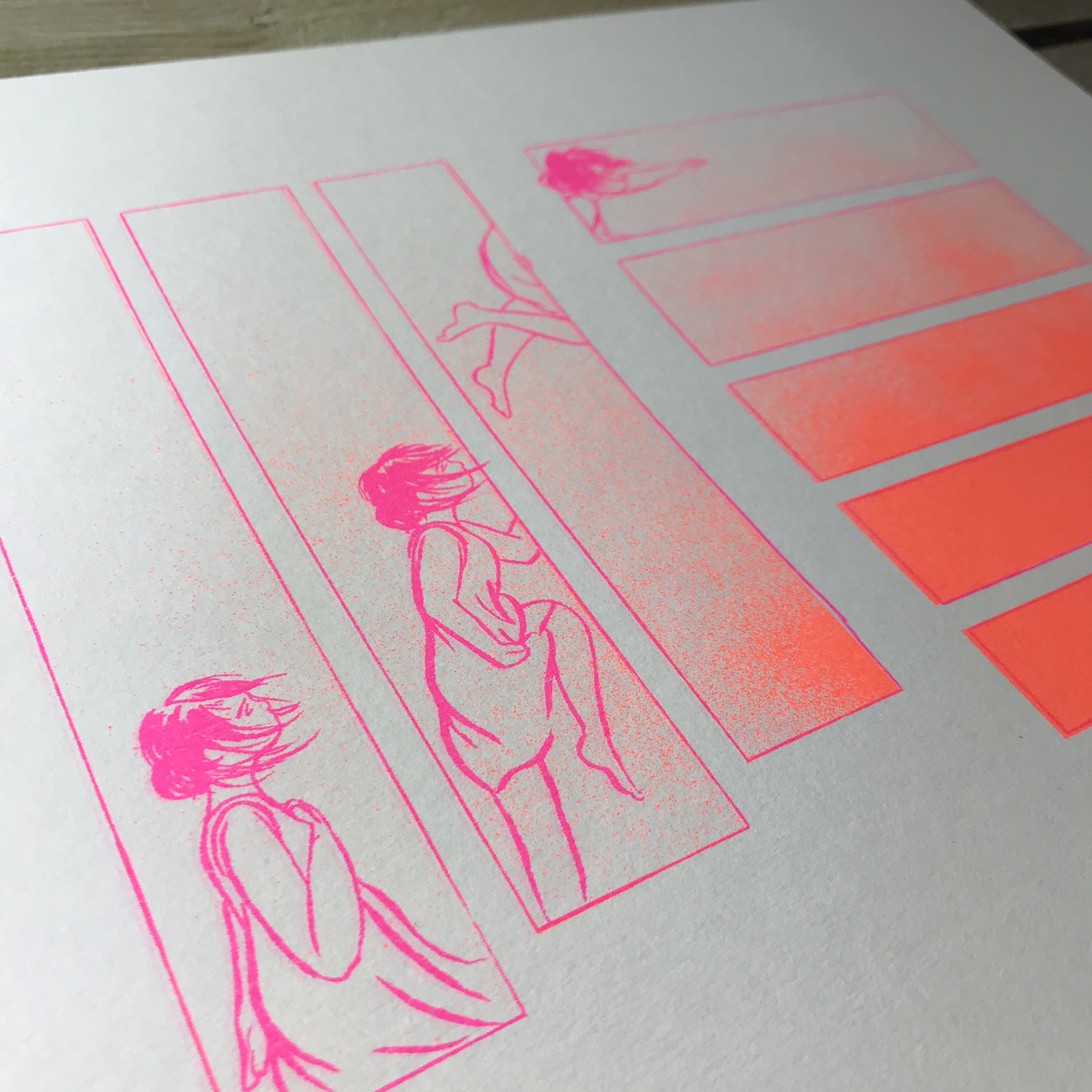 Reach A4 Print in orange/pink - finer detail