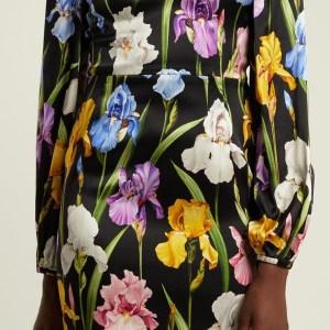 Dolce Gabbana Iris Print Fabric Soft Silk Satin all Over on Black Background/Silk Satin Fabric Beautiful  Quality/Haute Couture Fabric