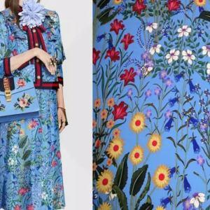 New Collection Gucci Silk Fabric Spandex Satin Italian Designer Fabric Colour Blue #1/Haute Couture Fabric 100% Silk Digital Inkjet fabric