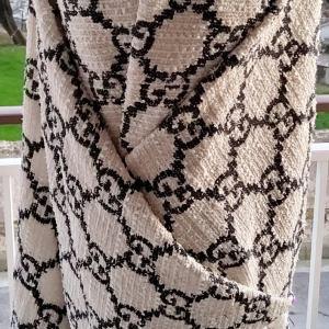 Italian Gucci Fabric Cotton Tweed Fabric/GG logo Limited Edition Black GG logo on White Background/Italian Fabric
