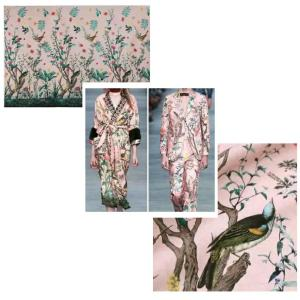 GUCCI Italian Designer Fashion Week Fabric in pink Available /catwalk fabric birds and flowers ornament/available in 2 colours
